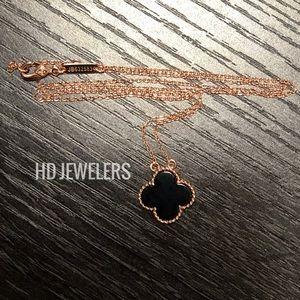 Black Clover Pendant Rose Gold Four Leaf Necklace